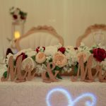 mr and mrs on sweetheart table