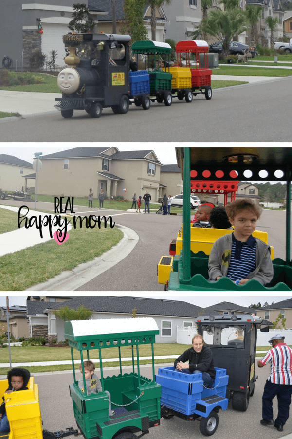 thomas the train theme birthday party with trackless train in jacksonville florida