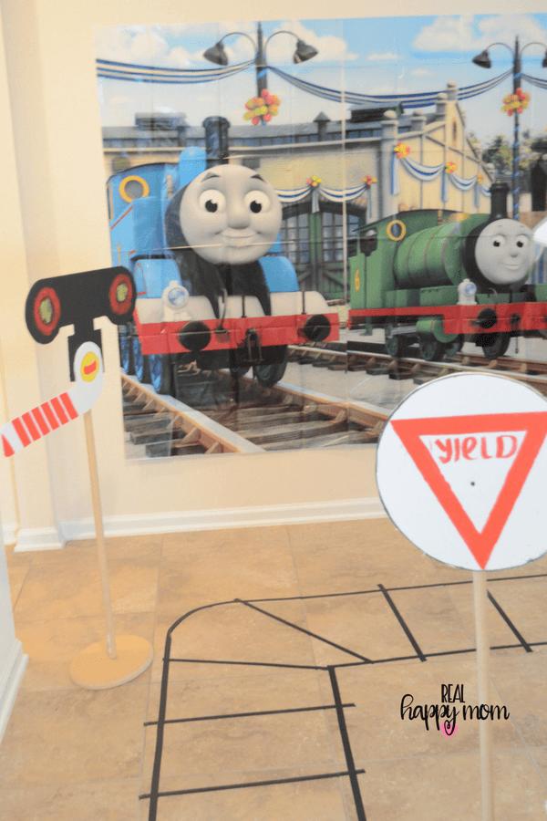 Thomas the train theme birthday party backdrop