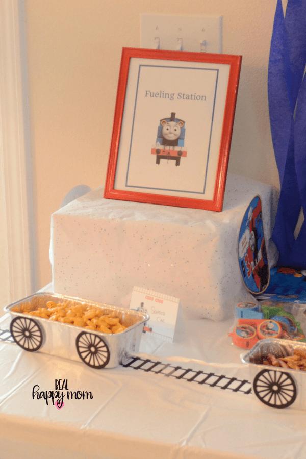 Thomas the train theme birthday party food table