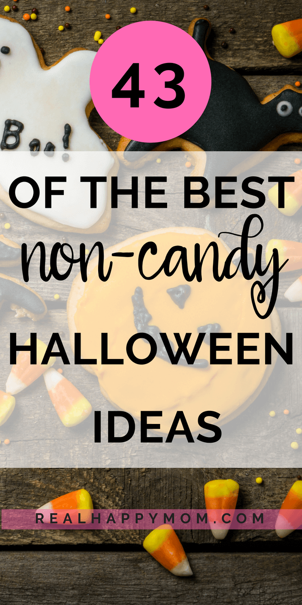 halloween cookies and candy with text overlay