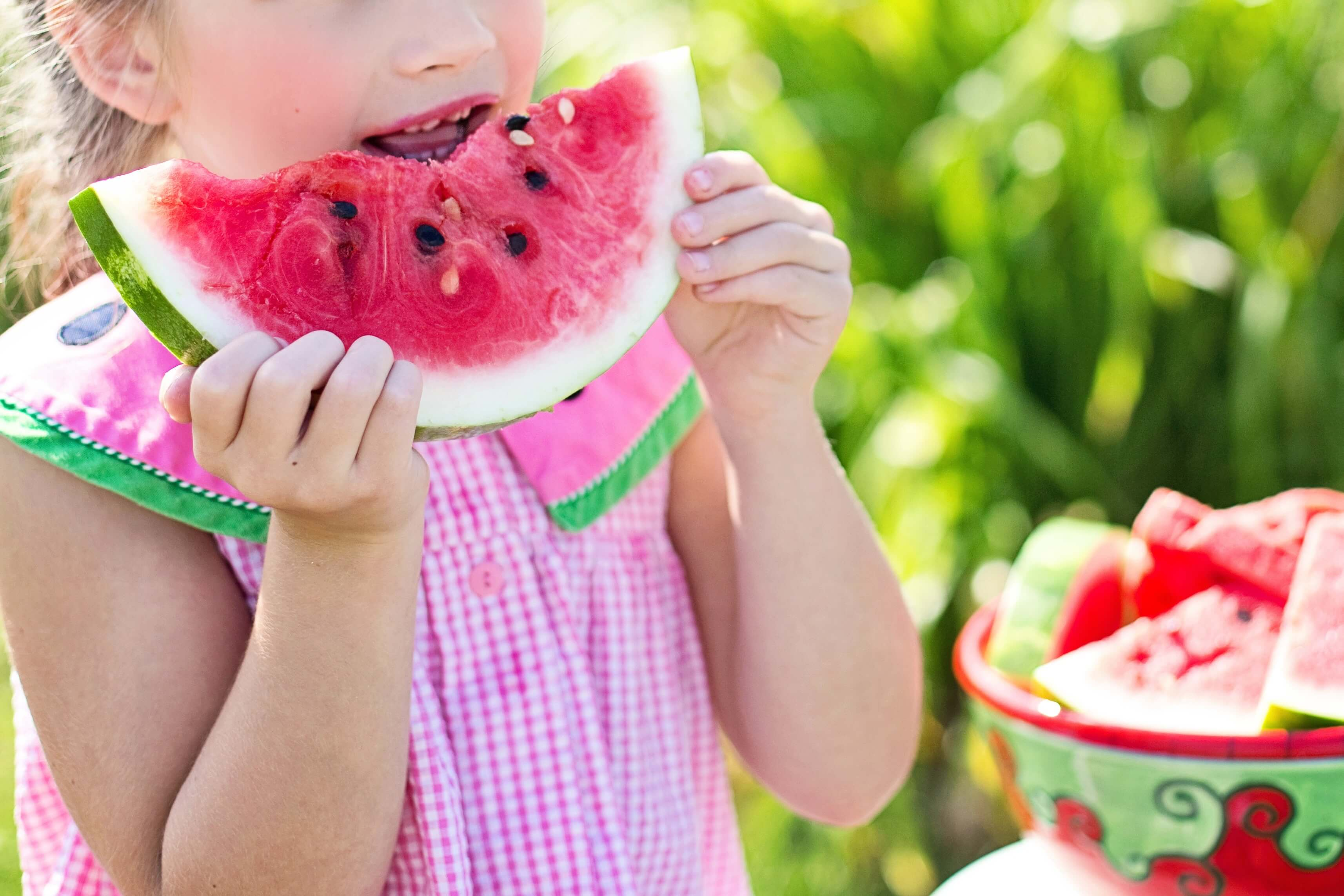 girl child eating watermelon, activities for last days of summer