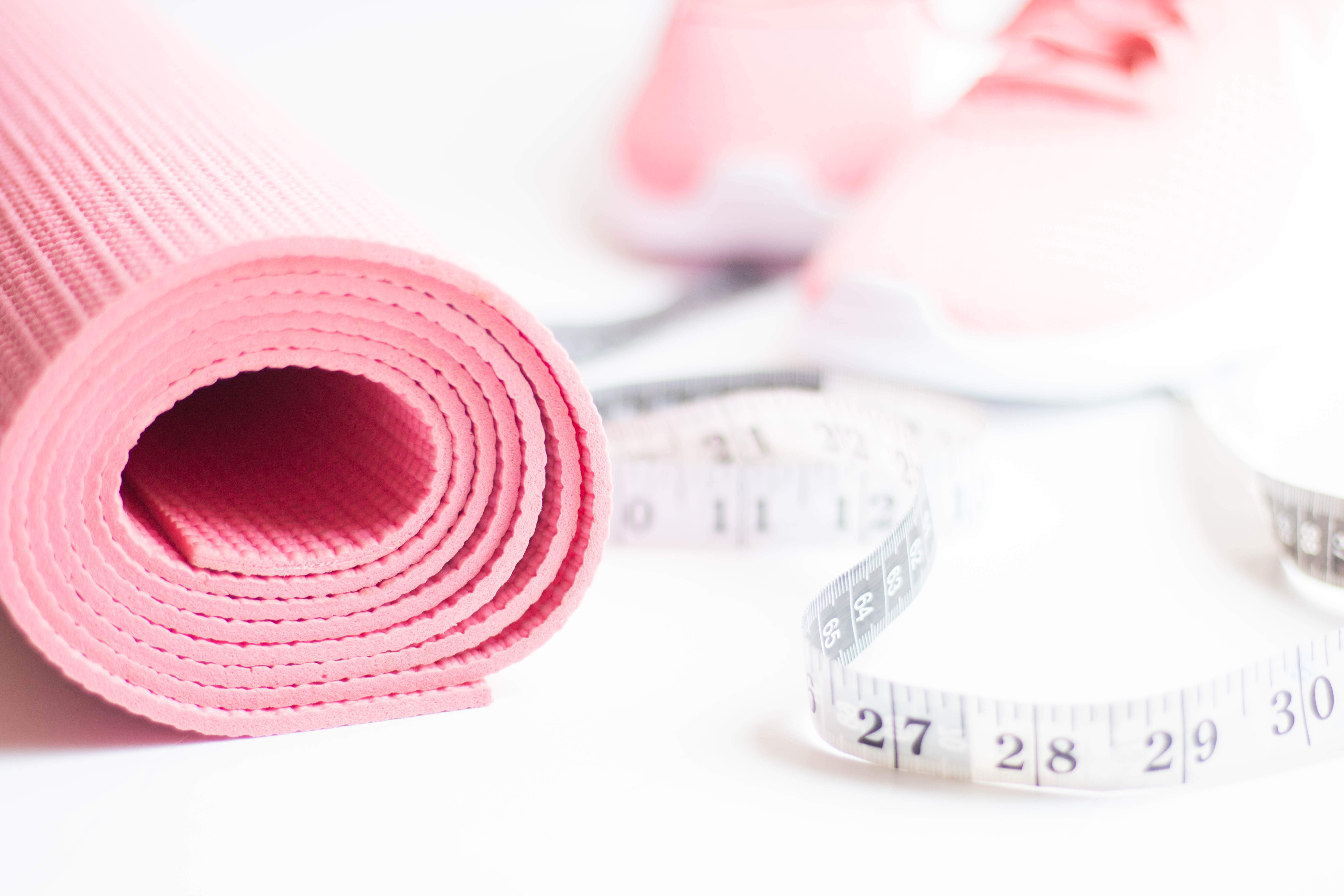 Yoga mat and measuring tape. Luara from Mom Connection helps help moms lose weight and talking about why moms have a hard time losing weight.